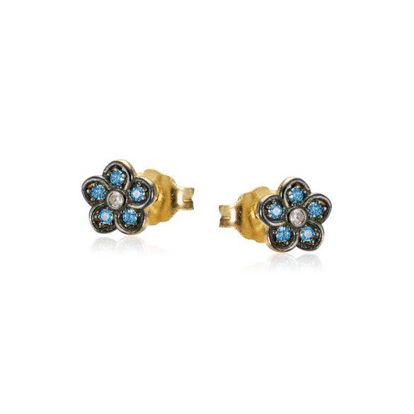 Kék köves, virágos arany fülbevaló