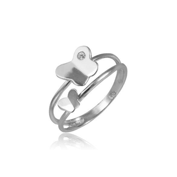 Lepkés fehérarany dupla gyűrű