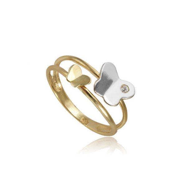 Lepkés arany dupla gyűrű
