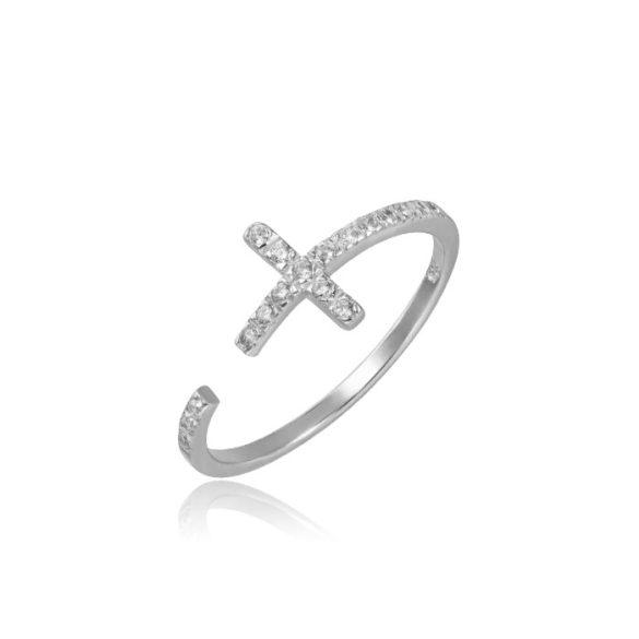 Keresztes fehérarany gyűrű