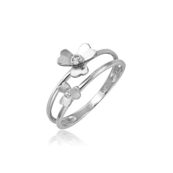 Virágos, fehérarany dupla gyűrű