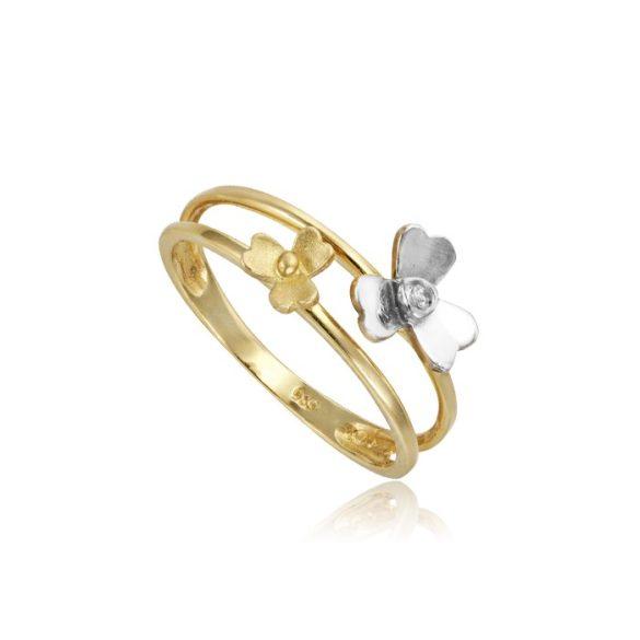 Virágos, arany dupla gyűrű