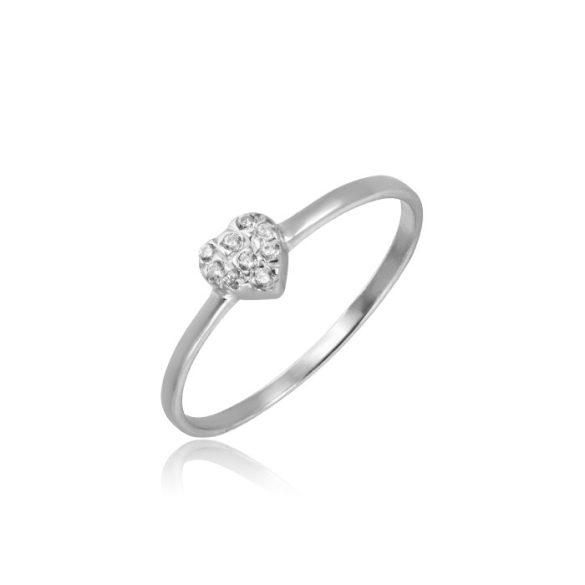 Szíves fehérarany gyűrű