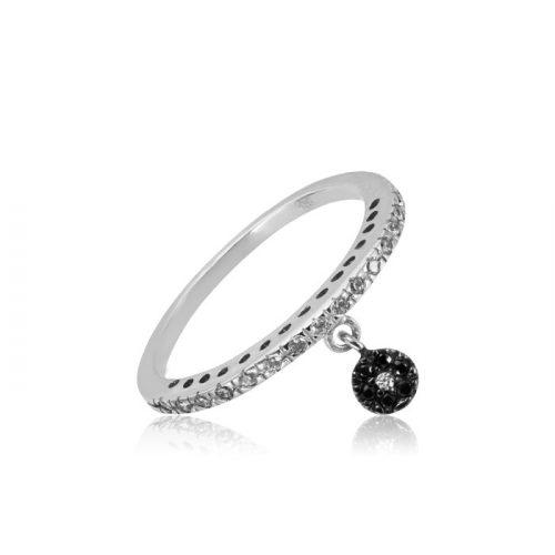 Fekete köves fehérarany gyűrű VE1531