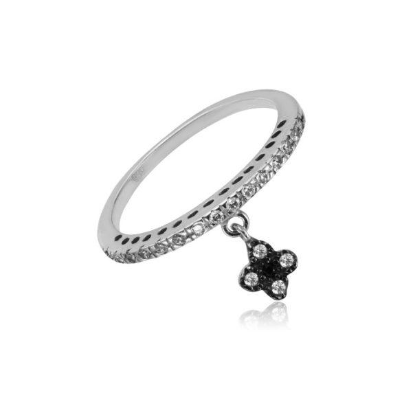 Virágos függővel díszített fehérarany gyűrű