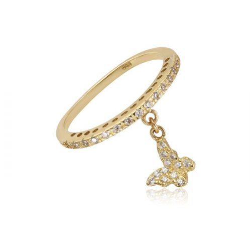 Kövekkel díszített pillangós arany gyűrű VE1533