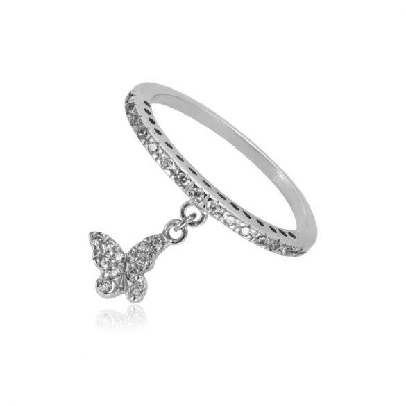 Kövekkel díszített pillangós fehérarany gyűrű