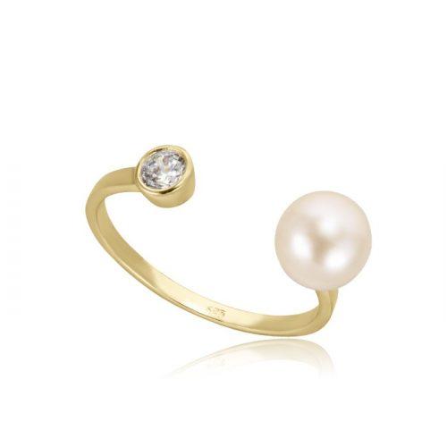 Gyöngyös, köves arany gyűrű VE1536