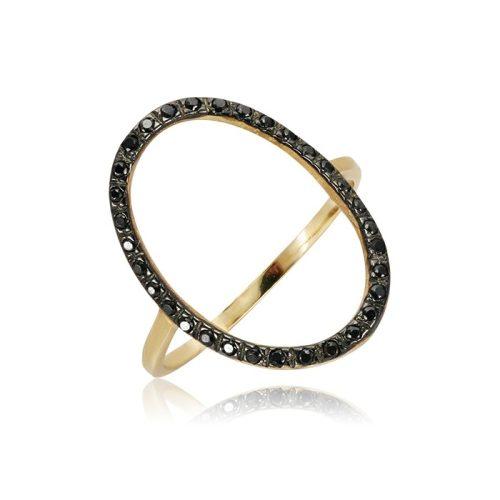 Fekete köves arany gyűrű VE1538