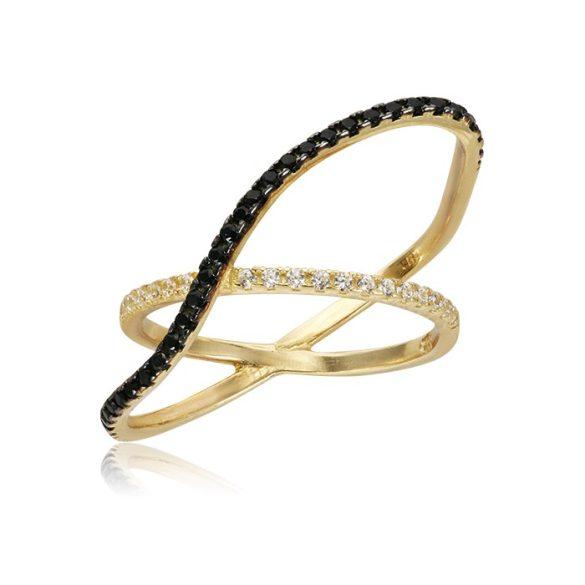 Fekete-fehér köves arany gyűrű