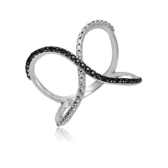 Fekete-fehér köves fehérrany gyűrű