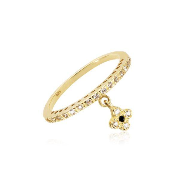 Virágos függővel díszített arany gyűrű
