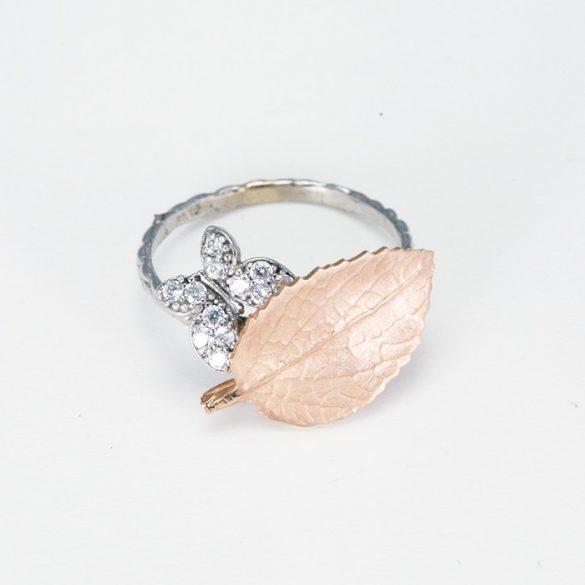 Levél mintás fehérany gyűrű