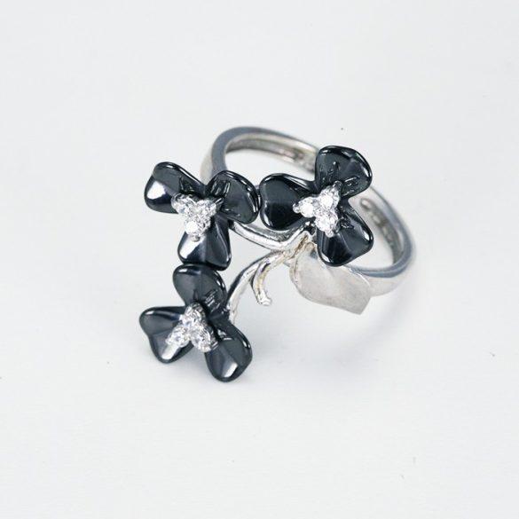 Fekete virág mintás fehérarany gyűrű