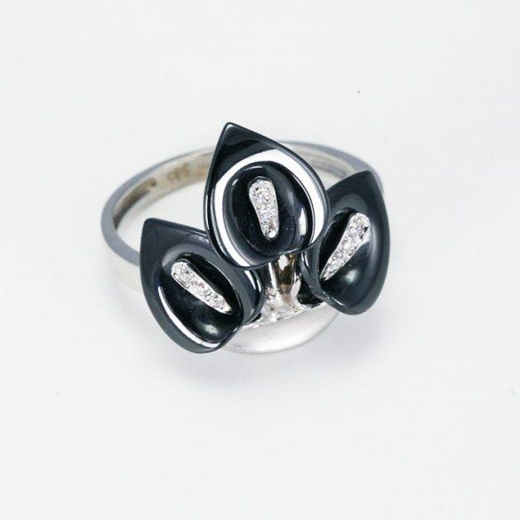 Fekete kála mintás fehérarany gyűrű