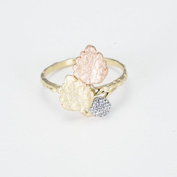 Rosé levél mintás arany gyűrű