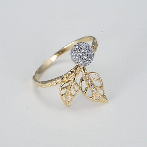 Levél mintás arany gyűrű VE1626