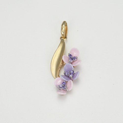 Kerámia virágos arany medál VE1606