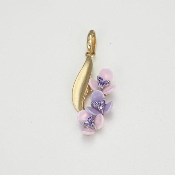 Kerámia virágos arany medál