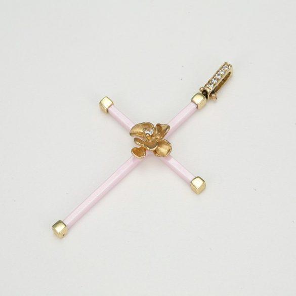 Rózsaszín kereszt arany medál