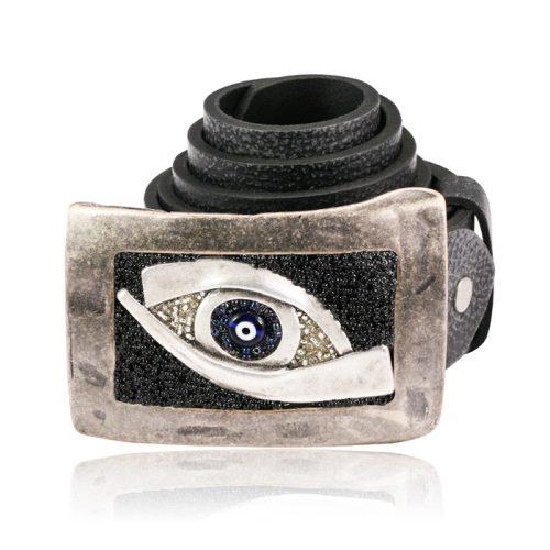Egyedi bőröv szem mintával VE044