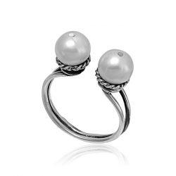 Ezüst Athina Gyűrű – oxidált páros gyöngy