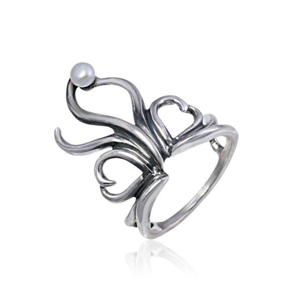 Ezüst Athina Gyűrű – oxidált szívek hullámvonalakkal, gyönggyel