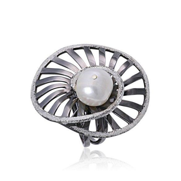 Ezüst Athina Gyűrű – oxidált csigaház spirál gyönggyel