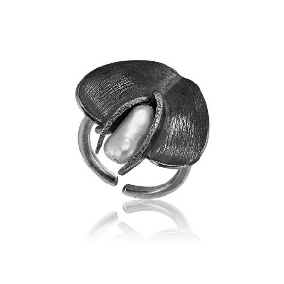 Ezüst Athina Gyűrű – oxidált kontrasztos virágszirom
