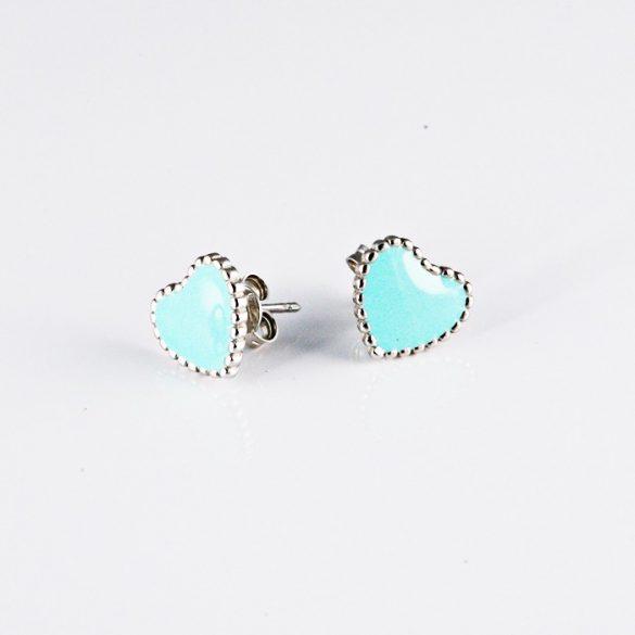 Ezüst Szív Fülbevaló- kék