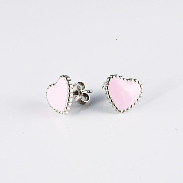 Ezüst Szív Fülbevaló- rózsaszín