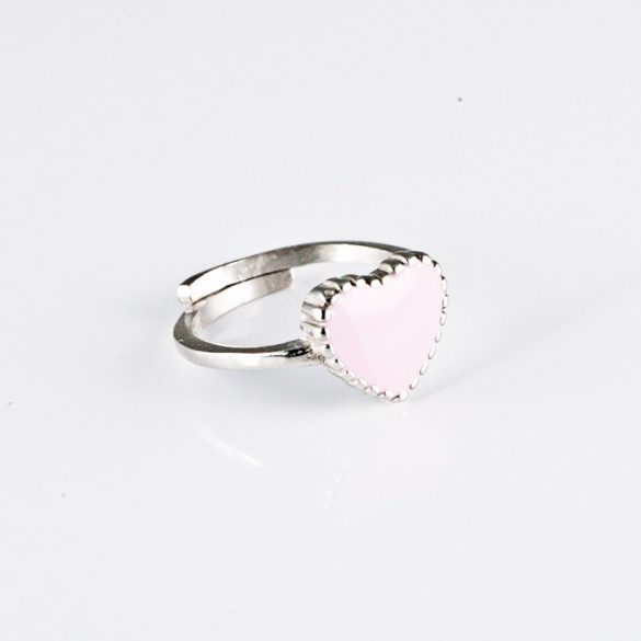 Rózsaszín Szíves Ezüst Gyűrű