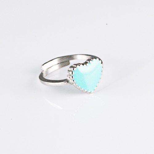 Kék Szíves Ezüst Gyűrű VEF056