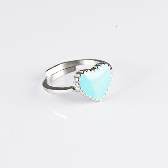 Kék Szíves Ezüst Gyűrű