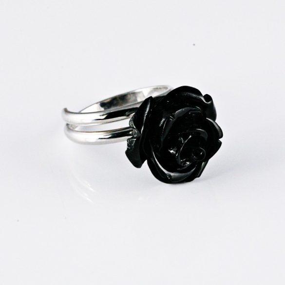 Fekete Rózsás Ezüst Gyűrű