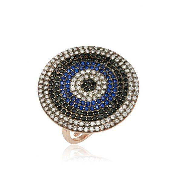 Ezüst Mosaic Gyűrű Kör Alakú- kék, rosé