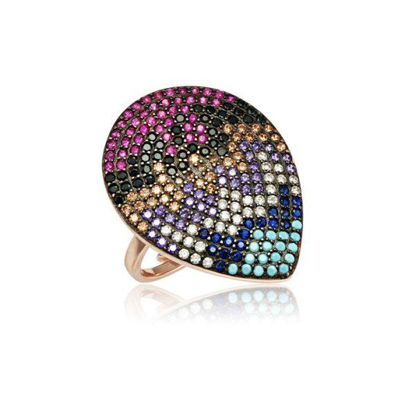 Ezüst Mosaic Cepp Alakú Gyűrű-színes, rosé