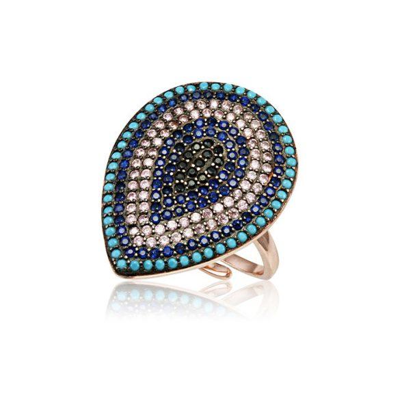 Ezüst Mosaic Csepp alakú Gyűrű-kék, rosé