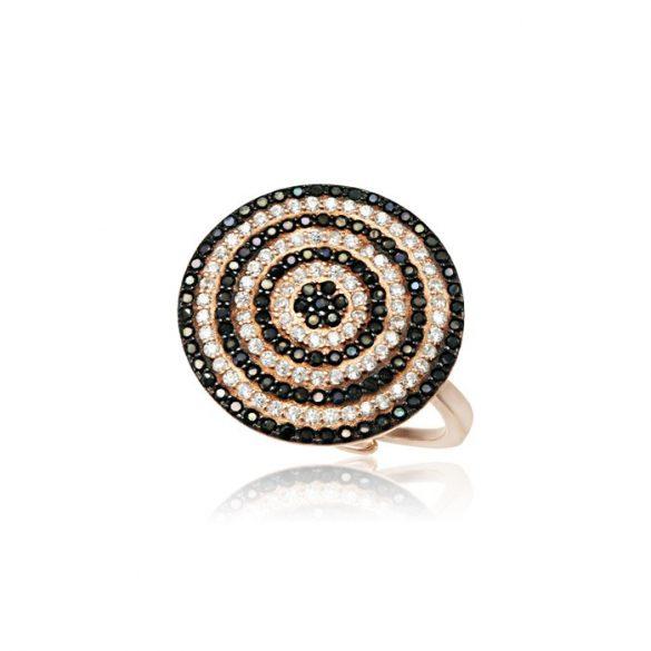 Ezüst Mosaic Kör alakú Gyűrű- fekete-fehér