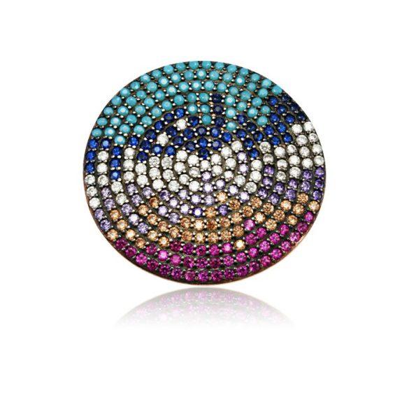 Ezüst Mosaic Kör alakú Gyűrű-színes