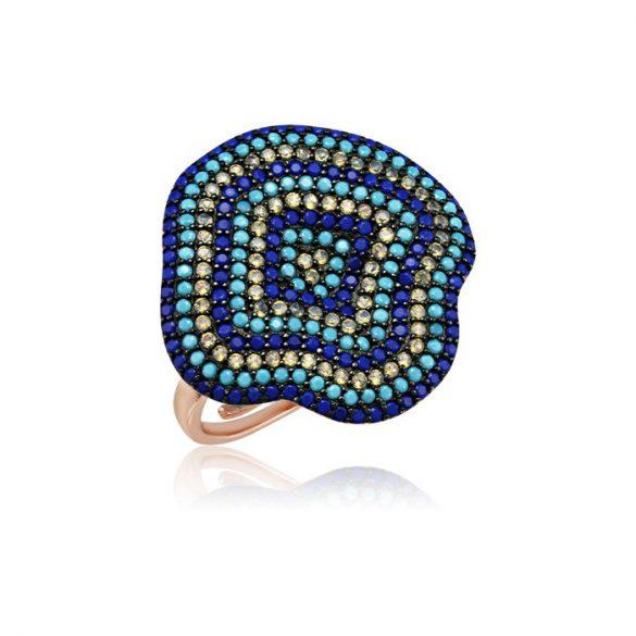 Ezüst Mosaic Gyűrű-kék, rosé