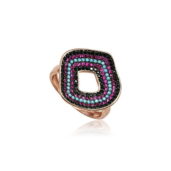 Ezüst Mosaic Gyűrű-rosé