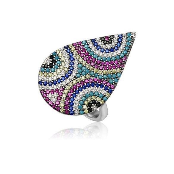Ezüst Mosaic Csepp alakú Gyűrű-félkörök