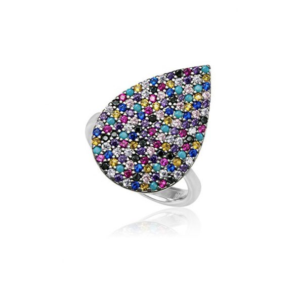 Ezüst Mosaic Csepp Alakú Gyűrű-színes