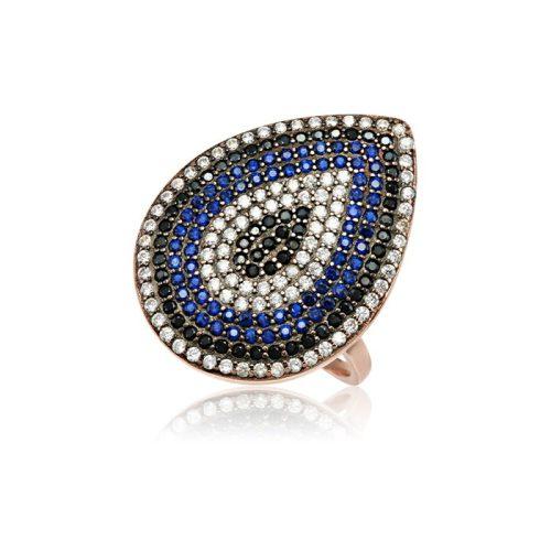 Ezüst Mosaic Csepp Alakú Gyűrű-rosé VE1355