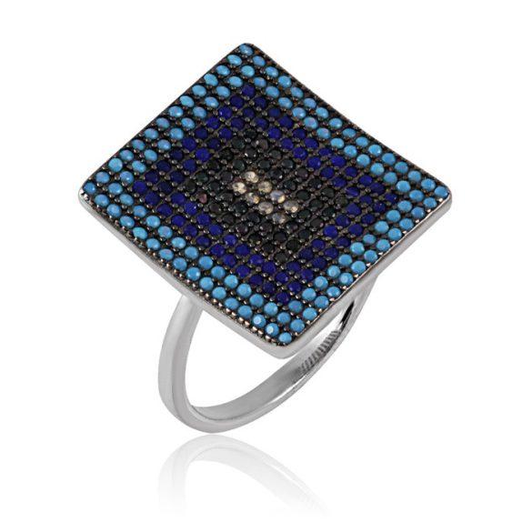Ezüst Mosaic Gyűrű—téglalap, kék