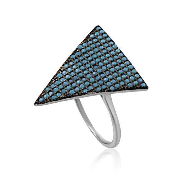 Ezüst Mosaic Gyűrű Türkíz Cirkónia Kövekkel—háromszög