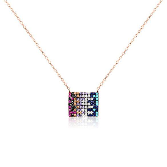 Ezüst Mosaic Rosé Nyaklánc—téglalap