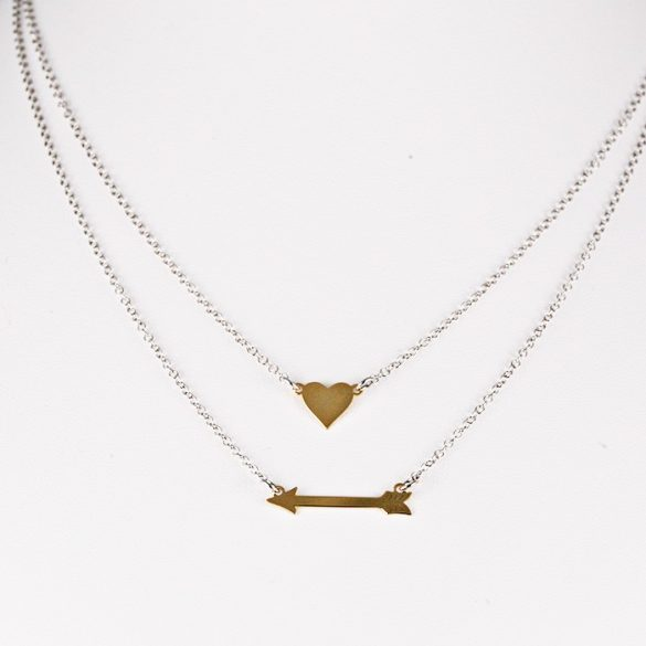 Ezüst Nyaklánc arany színű nyíl és szív medállal