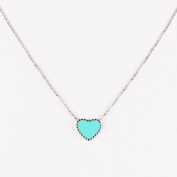 Ezüst Nyaklánc Kék Szív medállal—kicsi